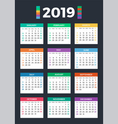 Calendar for 2019 on dark vector