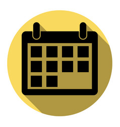 calendar sign flat black vector image