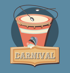 Carnival instrument musical drum and sticks retro vector