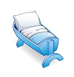 Cartoon blue infant cot crib bed vector