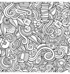 Cartoon hand-drawn doodles on the subject of tea vector image