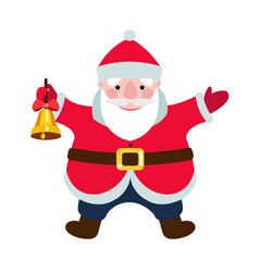 cartoon santa claus with a christmas bell vector image vector image