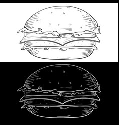 cheeseburger hand drawn sketch vector image
