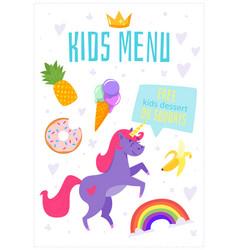 children menu meal template vector image
