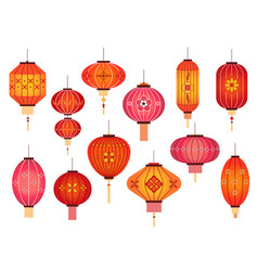 chinese lanterns chinatown and japanese street vector image