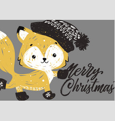 christmas poster with fox vector image