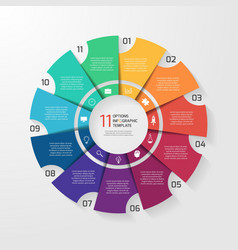 Circle infographic 11 options vector