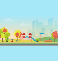 City public park with kids playground vector