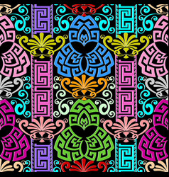 colorful floral greek key meanders seamless vector image
