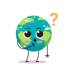 Confused earth character with question mark vector