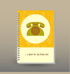 Cover of diary or notebook old phone icon vector