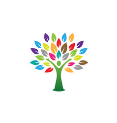 creative woman body tree logo vector image