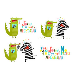 crocodile and zebra fun vegetarian cartoon vector image