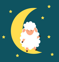 cute little sheep on the night sky good night vector image