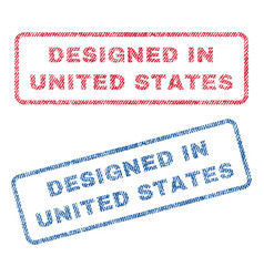 designed in united states textile stamps vector image