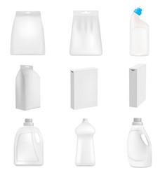 detergent bottle clean mockup set realistic style vector image