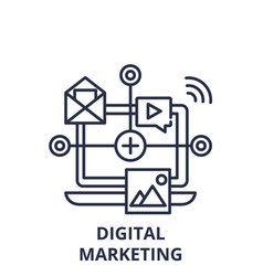 digital marketing line icon concept digital vector image