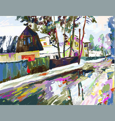 digital painting artwork of village winter vector image