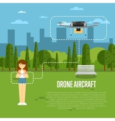 Drone aircraft banner with flying robot vector