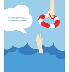 Drowning man screaming for help summer danger vector