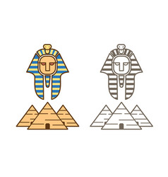 egypt icon pharaoh and pyramids cartoon graphic vector image
