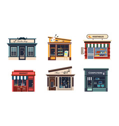 facades of various shops set barbery art vector image