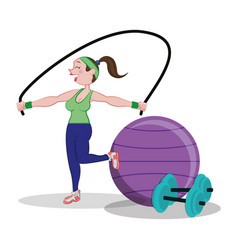fitness woman jumping rope and fitball dumbbell vector image