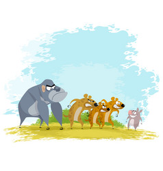 five funny animals vector image