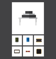 Flat icon appliance set of microprocessor cpu vector