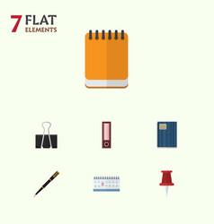 Flat icon tool set of nib pen notepaper paper vector