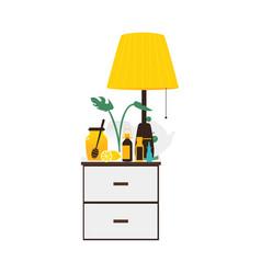 flat style bedside table with flu medicine bottles vector image