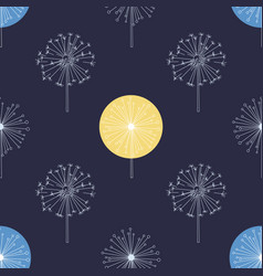 floral seamless pattern with white dandelions vector image