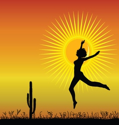 girl jumping in the desetr black silhouette vector image