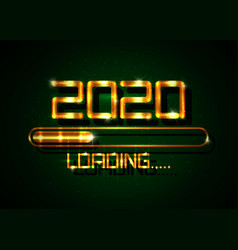 Gold happy new year 2020 with loading icon golden vector
