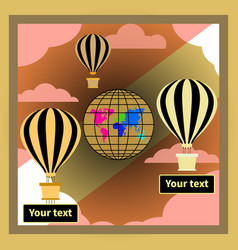 Golden black hot air balloons banners and globe vector