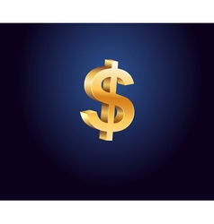 Golden dollar sign vector image