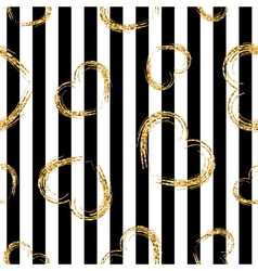 Golden grunge hearts stripes seamless pattern vector
