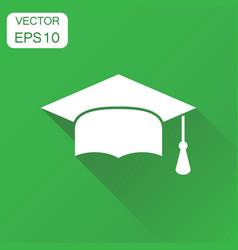 graduation cap icon business concept finish vector image
