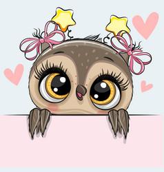 greeting card cartoon owl girl with hearts vector image