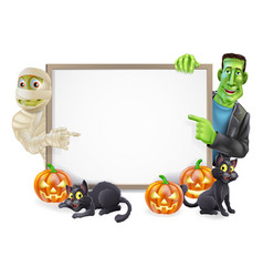 Halloween sign with mummy and frankenstein vector