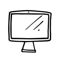 hand drawn monitor cartoon computer screen vector image