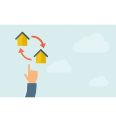 Hand pointing to little houses with arrow vector image