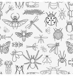 Insects seamless pattern 24 pieces in set vector image