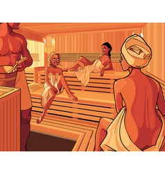 Interior of the steam room in the sauna vector