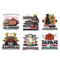 japan culture and travel tradition icons vector image