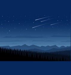 Landscape and shooting stars vector