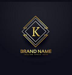 Luxury line logo for letter k vector