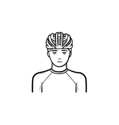 man in bicycle helmet hand drawn outline doodle vector image