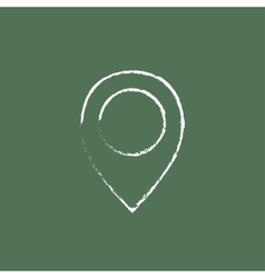 Map pointer icon drawn in chalk vector