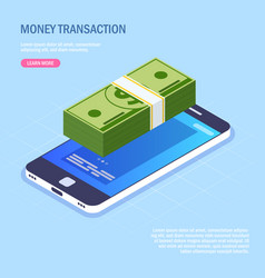 money transaction via mobile phone money stack on vector image